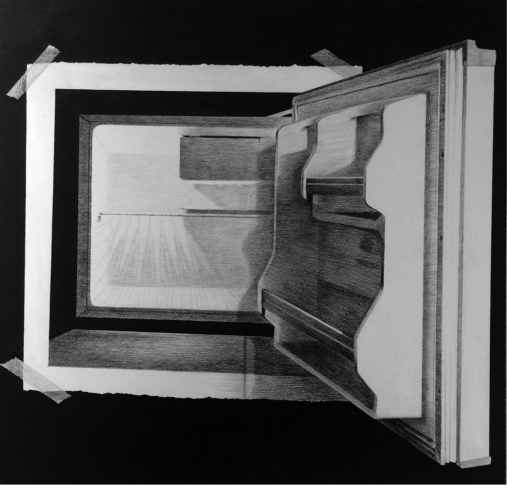 "MARISOL RENDÓN: ""Leftover From a Dreamer"", 26"" x 26"", charcoal on paper, 2009"