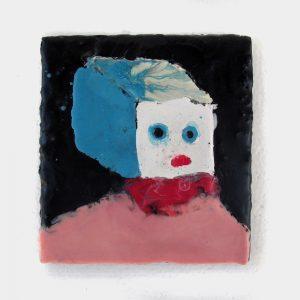 """Blockhead, encaustic on wood, 5.5"""" x 6"""", 2008"""