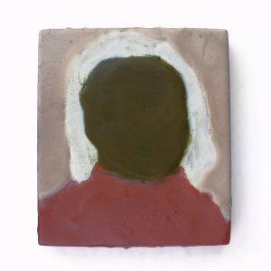 "The Man with No Face, encaustic on wood, 5.5"" x 6"", 2011"