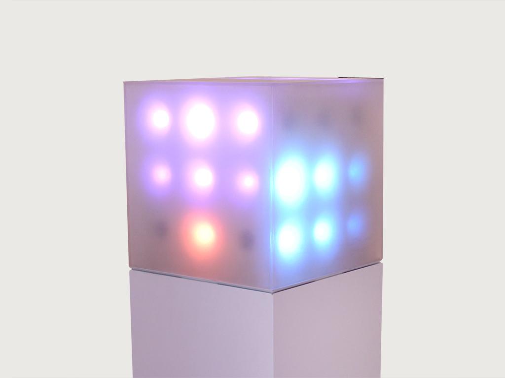 "JUSTIN MANOR ""Cascade"", LEDs, Acrylic, Electronics, Code, 12"" x 12"" x 12"", 2016"
